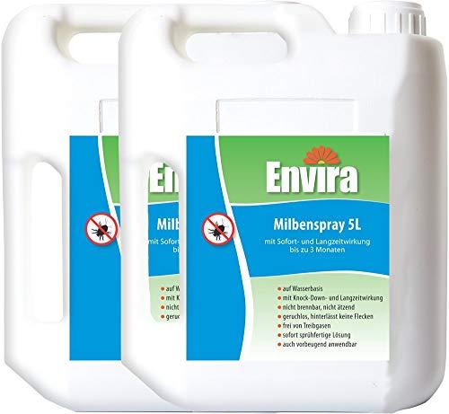 Envira Milben-Spray - Anti-Milben-Mittel Mit Langzeitwirkung - Geruchlos & Auf Wasserbasis - 2x5Ltr