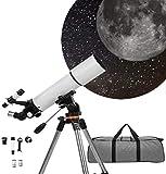 Telescopio astronómico para niños Adultos, 80 mm de Apertura 500 mm de Longitud Focal Telescopio Refractor 3X Monocular de Aumento HD, telescopio Profesional de Cielo Estrellado con trípode