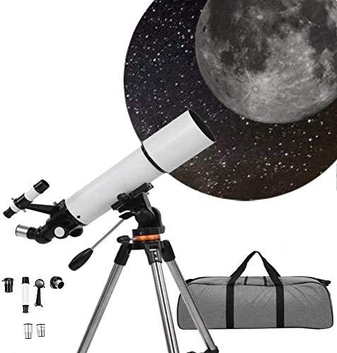 Teleskop, Astronomisches Teleskop für Kinder Erwachsene, 80 mm Blende 500 mm Brennweite 3-faches Refraktorteleskop HD-Vergrößerung Monokulares, professionelles Sternenhimmel-Teleskop mit Stativ