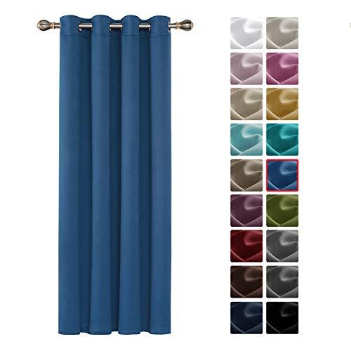 Deconovo Cortinas Opacas Térmicas Aislantes Frío y Calor de Salón Moderna 1 Pieza con Ojales 132 x 160 cm Azul