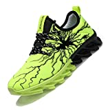 MEINIANGUAN Kids Shoes Non Slip Youth Tennis Shoes Lightweight Lace-up Athletic Sports Running Walking Gym Shoes for Boys Girls Green Big Kid Size 5