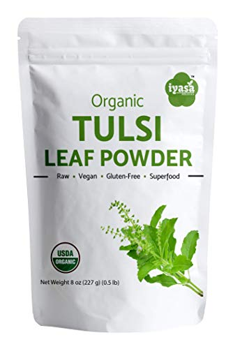 Iyasa Holistics Organic Tulsi Leaf Powder 8 Oz/227 Gm Holy Basil Tea Powder, Ocimum Sanctum, Ayurveda Superfood ,Resealable Pouch