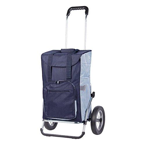 Andersen Einkaufstrolley Royal Dante und 45 Liter Einkaufstasche blau/weiß mit Kühlfach Einkaufswagen Gestell aus Aluminium klappbar