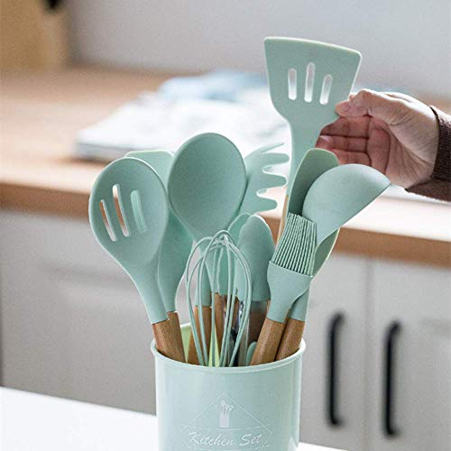 12PCS Silicone cookware Set Non-Stick Spatula Shovel Wooden Handle cookware Set with Storage Box Kitchen Tool Cooking Tool Set