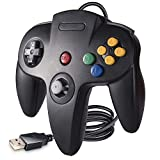 suily Controlador USB con cable para juegos N64, controlador clásico USB Gamepad Joystick para Windows PC Mac Raspberry Pi 3 (negro)