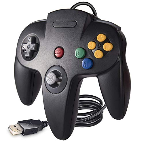 suily N64 Controlador de Juego con Cable, Controlador USB clásico para PC Gamepad Joystick para Windows PC Mac Raspberry Pi 3 (Negro)