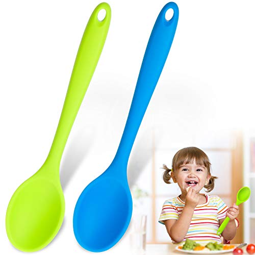 2 Pieces Silicone Serving Spoon Nonstick Mixing Slotted Small Spoons Kitchen Spoon Stirring Spoon for Kitchen Cooking Baking Stirring Tools (Blue and Green)