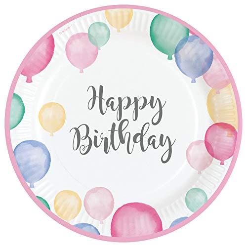 Amscan 9903708 - Teller Happy Birthday Pastel, 8 Stück, ca. 23 cm, Geburtstag, Papier, Einwegteller