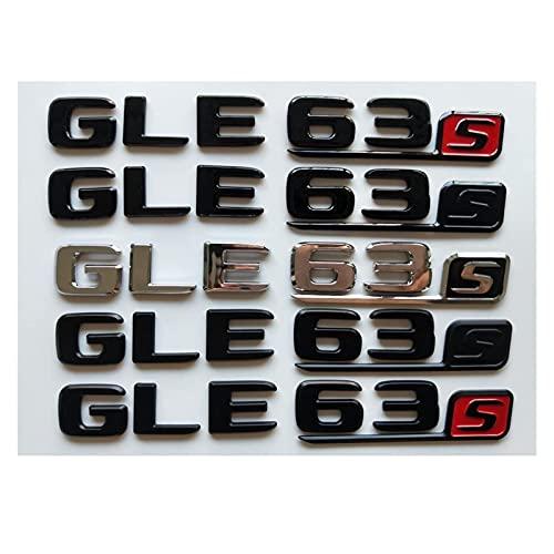 Letra Emblema Cromo Negro Letras Número Tronco Badges Emblemas Emblema Etiqueta Etiqueta Apta for Mercedes Benz W166 C292 SUV GLE6 3s Gle63 s amg (Color : Chrome with Black)