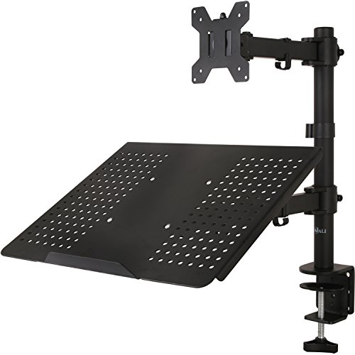 WALI Single LCD Monitor Desk Mount Fully Adjustable Stand with Extra Laptop Tray for 1 Laptop Notebook up to 17 inch and 1 Screen up to 27 inch, 22 lbs. Weight Capacity (M001LP), Black