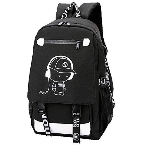 Luminous Backpack Anime School Bags Daypack USB chargeing Port Anti-Theft Backpack Laptop Rucksack for Students Boys Girls Men Women (Anime Luminous Backpack for Music Black)