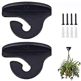Purife 2PCS Heavy Duty Ceiling Hook for Hanging Plants- Ceiling Plant Hanger Hook Indoor, Wall Mount Lantern Hanger, Ceiling Hanger for Bird Feeder, Flower Pot, String Light,Windchime, Ornament Black