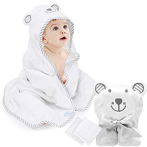 Smilsiny Bebe - Albornoz infantil con capucha para niños - Toalla de baño suave de fibra de bambú, para niños de 0 a 7 años, 90 x 90 cm, 500 GSM