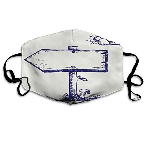 Usicapwear Mundschutz Mund Anti-Staub-Abdeckung Mode,Wooden Arrow Board with Growing Mushroom and Sun Behind a Cloud Doodle Style,Mouth Cver Wiederverwendbare Fack-Abdeckung Bunte Krawattenfarbe