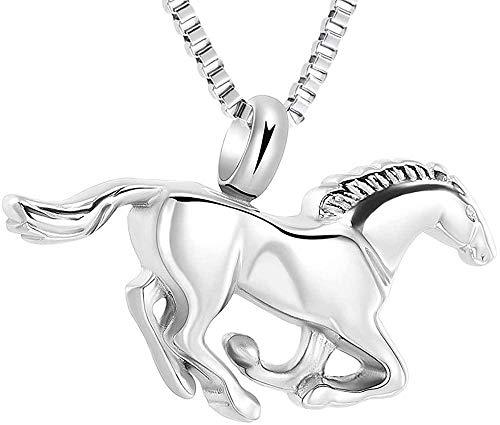 Collar de urna de caballo galopante para colgante de cenizas, recuerdo de acero inoxidable, joyería de cremación conmemorativa para mascotas / humanos-Plata