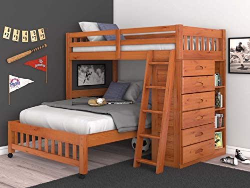Discovery World Furniture Twin Over Full Loft Bed in Honey Finish