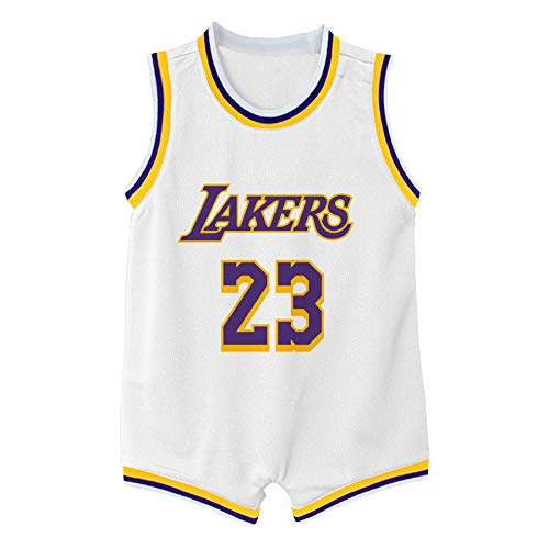 Outerstuff NBA Infants Official Name and Number Home Alternate Road Player Bodysuit Romper Jersey (12 Months, Lebron James Los Angeles Lakers White Association Edition)