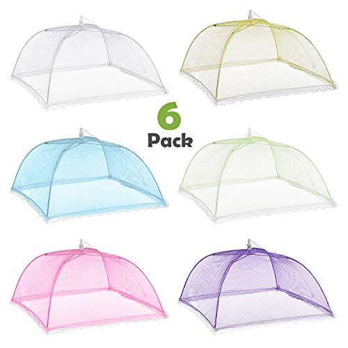 ZWOOS Mesh Food Nets 6 Pack 17 inch Reusable and Collapsible Pop-Up Mesh Food Covers Tent Umbrella Food Covers Mesh for Keep Out Flies, Picnic, Camping, Barbecue, Green Plant Protection