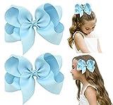 DEEKA 2 PCS 6' Big Hand-made Grosgrain Ribbon Solid Color Hair Bows Alligator Clips Hair Accessories for Little Teen Toddler Girls Kids Set of 2 -Light Blue