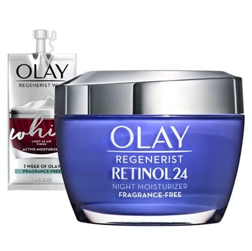 Olay Regenerist Retinol Moisturizer, Retinol 24 Night Face Cream, 1.7 Oz + Whip Face Moisturizer Travel/Trial Size Gift Set