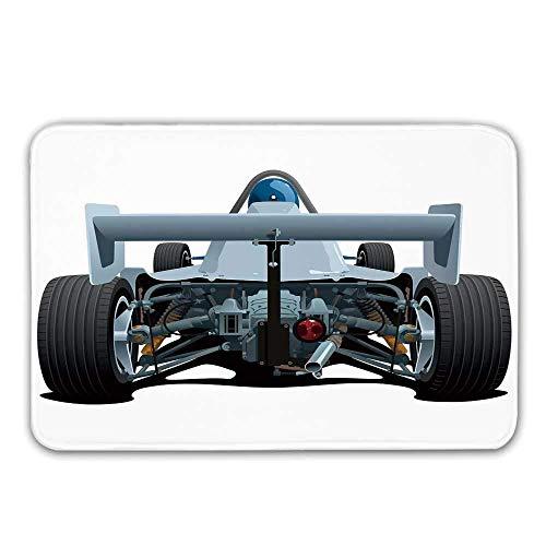 Tappeto d'ingresso in Gomma Antiscivolo per Auto, Vista Posteriore di Uno Sport da Corsa di Formula 1 Rally Sport Zerbino in Stile Cartone Animato per Tappetino da Bagno della Porta d'ingresso