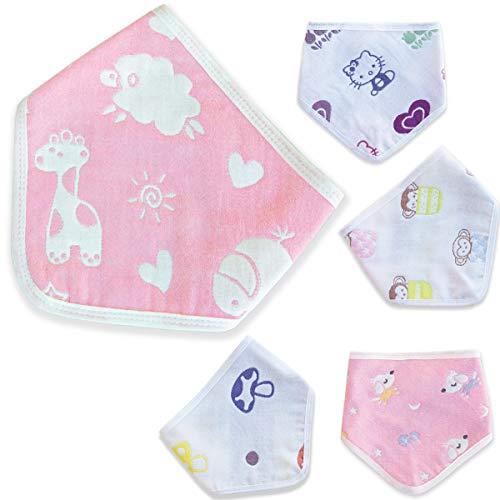 ?Baberos Nätura 100% Algodón para bebes, a bandana, Niño/ Niña, 5 piezas, suave, para lactancia, dentición primaria y babeo, súper absorbentes, 6 capas de gasa de algodón, de alta calidad!