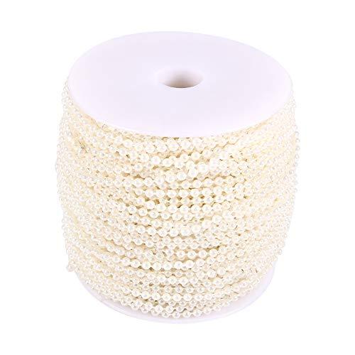 50M Perlengirlande, Künstlich Perlenband Perlenkette für Hochzeit DIY-Handwerk Dekoration(Beige)