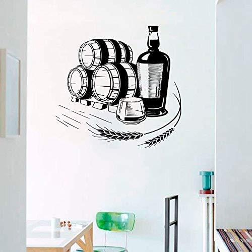 Etiqueta De La Pared Etiqueta De La Pared Trigo Vino Bebida Alcohólica Decoración Botella De Vidrio Vinilo Bar Etiqueta Interior De La Decoración De La Ventana 57X59Cm