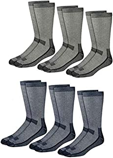 Kirkland Signature Outdoor Trail Socks Merino Wool Blend, 6 Pairs, Blue Gray Black, Medium (Shoe Size 7-9.5)