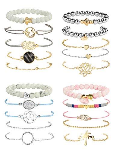 YADOCA 20 Stück Armbänder Set Einstellbar Armreifen Weltkarte Herz Welle Geflochtene Handgemachte Perlenarmband Boho Schmuck Set für Damen Mädchen