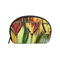 化粧ポーチ 化粧ポッチ 3美しいワインメガネオレンジグリーンレッド バニティーポーチ 化粧袋 収納バッグ トイレタリーバ 旅行出張用 洗面用具 小物入れ