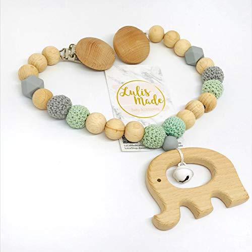 Kinderwagenkette für Babys Handarbeit als individuelles Geschenk - Grau und Grün