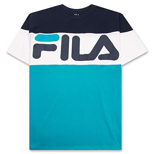 Fila Men's Big and Tall Short Sleeve T Shirt Big & Tall Crewneck Men Shirt Navy White Teal 3X
