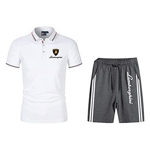 QIZIFAFA Herren Poloshirt Slim Fit T-Shirt Einfarbig Kurzarm, Lambo.Rghini Polo Zwei Stück Hemden T-Shirt Kurze Hose Kurzärmelig, Männer & Frauen Beiläufig Trainingsanzug,Weiß,M/Medium