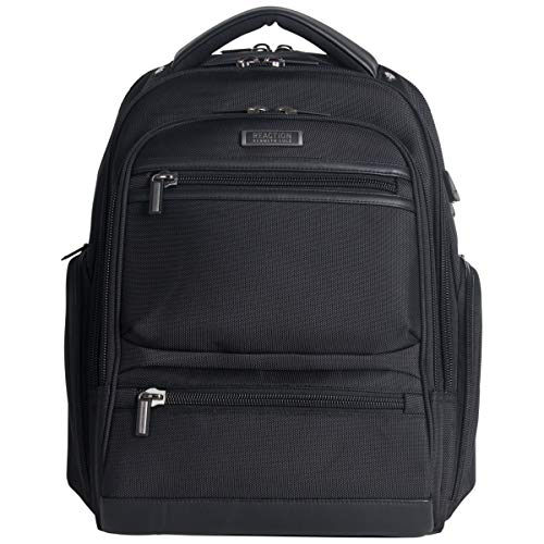 Kenneth Cole Reaction Dual Compartment 17' TSA Checkpoint-Friendly Laptop Backpack with USB, Black