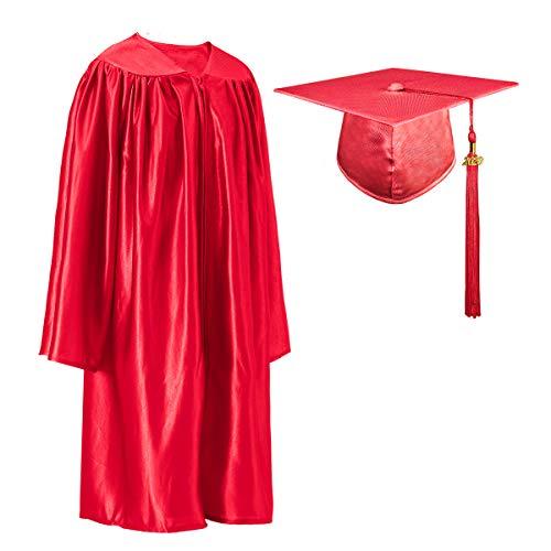GraduatePro Abito di Laurea e Cappello 2020 per Bambini Studenti Prescolastico Rosso Taglia 123-130