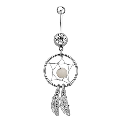 Charmed Craft Sexy Dream Catcher Belly Button Ring Stainless Steel Belly Rings Dangling Jewelry Women (White)