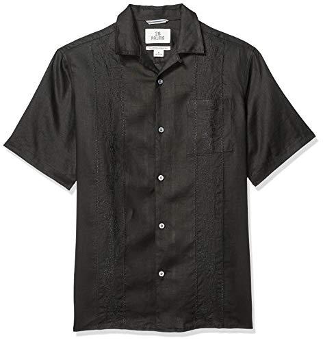 Amazon-Marke: 28 Palms Kurzarm-Hemd für Herren, aus 100% Leinen, bestickt, Guayabera-Hemd mit bequemer Passform, black, US S (EU S)