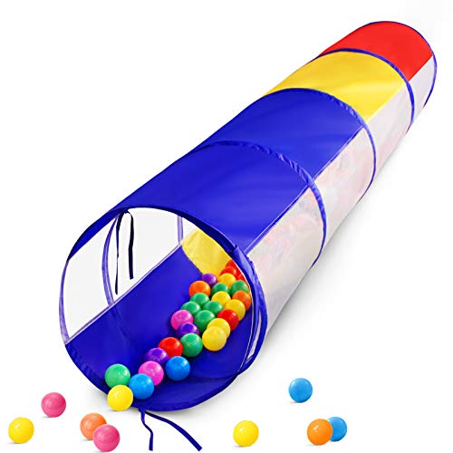 Kids Play Tunnel for Toddlers, 6 Foot Pop Up Crawl Through Tunnel Play Tent for Baby Infant Children or Dog with 2 Mesh Sides, Kids Tunnel Toys or Gift Indoor & Outdoor (Colorful Crawling Tunnel)