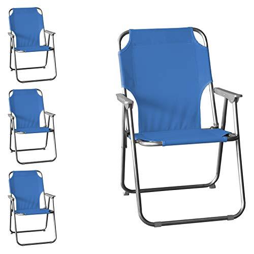 Wohaga 4 Stück Campingstuhl Faltstuhl Anglerstuhl Klappstuhl Strandstuhl Faltbarer Gartenstuhl klappbar - Blau
