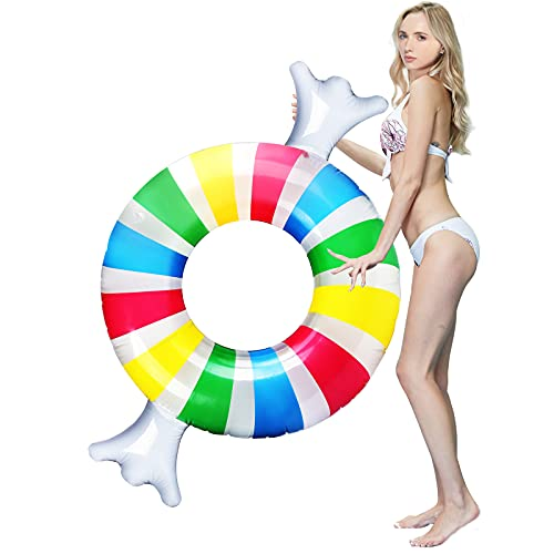 IAMGlobal 63' Candy Pool Floats, Swimming Ring, Inflatable Pool Party Float Raft, Swim Party Toys, Summer Outdoor Pool Floats, Floatie Lounge Toy for Party Decor for Fun