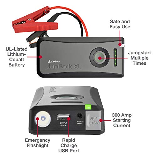 Cobra JumPackXL CPP12000 Portable Power Car Jump Starter: Battery Charger, Power Pack, LED Flash Light with Jumper Cables, 500 Amp Peak, Instant Power to Car, SUV or Motorcycle