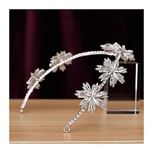 GDYJP Flores Suaves for el Pelo Novia Tiaras y Coronas Rhinestone Crystal Diadem Tocado Tocado de Novia Joyería de Pelo Adornos