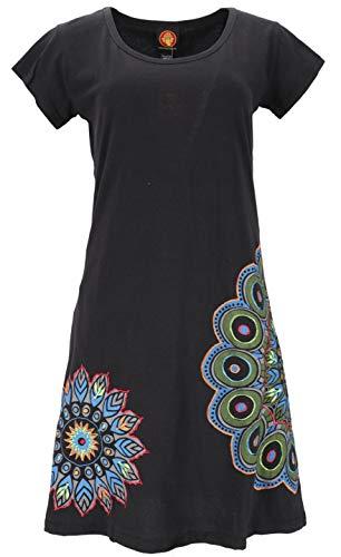 GURU SHOP Hippie Minikleid Chic, Alternative Kurzarm Tunika Mandala, Damen, Schwarz, Baumwolle, Size:L/XL (40), Kurze Kleider Alternative Bekleidung