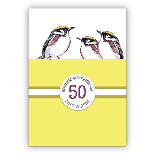 Sonnige klassieke verjaardagskaart 50e verjaardag met mooie vogels in geel: 50 Hartelijk felicitaties voor verjaardag • rechtstreeks verzenden met tekst als inlegger • Verjaardagskaart met envelop