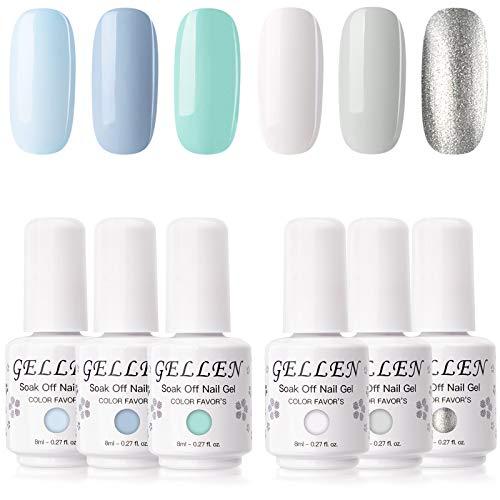 Gellen Gel Nail Polish Set, Mint Color Sky Series 6 Colors - Fresh Blue White Mint Silver Colors, Popular Nail Art Soak Off UV LED Gel Manicure Kit