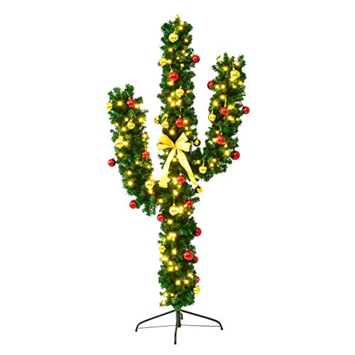 Goplus Pre-Lit Artificial Cactus Christmas Tree with LED Lights and Ball Ornaments, Perfect Holiday Decoration Indoor Xmas Tree