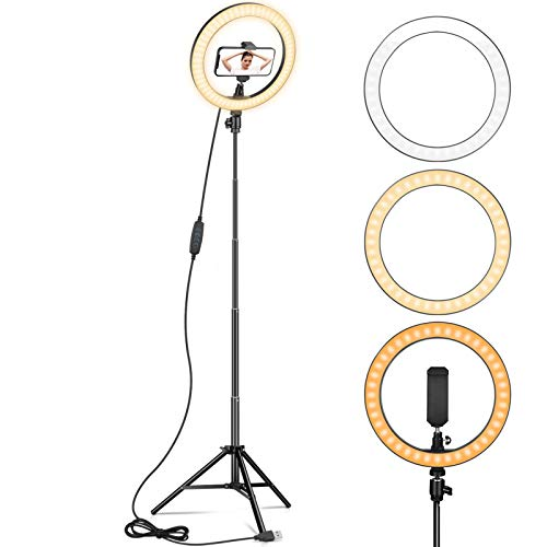 """Ring Light 10"""" with 67"""" Tripod Stand & Phone Holder for YouTube Video, Desktop Camera Led Ring Light for Streaming, Makeup, Selfie Photography Compatible with iPhone Android"""