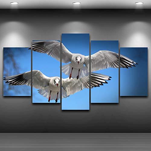 GHTAWXJ Wooncultuur muur Hd gedrukte foto's 5 stuks vogels vliegen in de lucht kunst schilderij modulaire canvas poster lijst