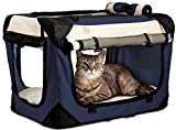 PetLuv 'Happy Cat Premium Cat Carrier Soft Sided Foldable Top & Side Loading Pet...
